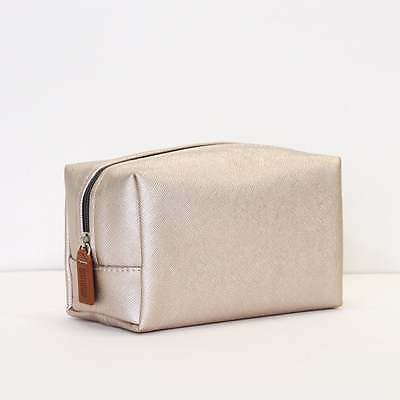 Caroline Gardner Rose Gold Metallic Cube Cosmetic Bag