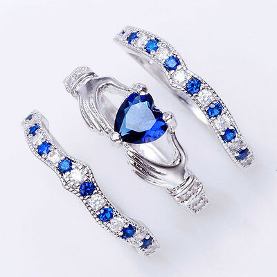 USA 3Pc/Set Irish Claddagh Celtic Heart Sapphire  Silver Ring Wedding Bridal