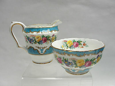 Crown Staffordshire China - Lyric/tunis Blue - Individual Creamer & Open Sugar