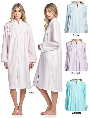 746fbe6a1f CASUAL NIGHTS WOMEN S Zipper Front Jacquard Terry Fleece Robe Duster ...