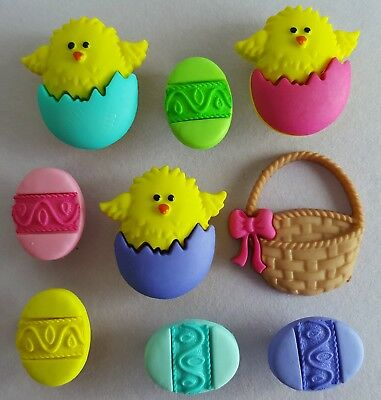 EASTER BASKET - Chocolate Egg Hunt Bird Chicks Sweets Dress It Up Craft Buttons