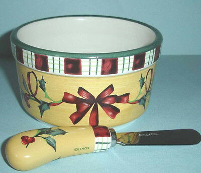 Lenox Winter Greetings Everyday Dip Bowl with Spreader 2 Piece Set New In Box