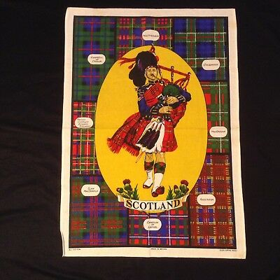 Unused TARTANS & HIGHLAND PIPER Souvenir TEA TOWEL by GLEN APPIN 29x20 Scotland