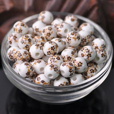 NEW 20pcs 10mm Round Smooth Ceramic Loose Spacer Beads Flower Pattern #26