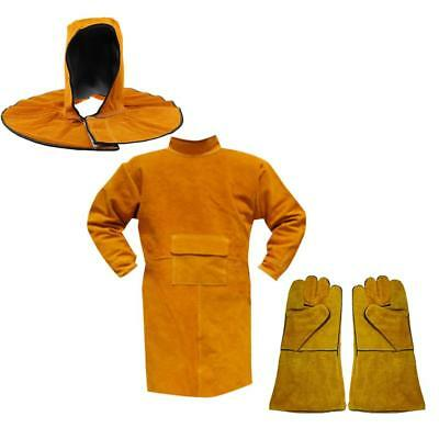 Welding Long Coat Protective Clothing Apparel with Gloves Kit for Welder