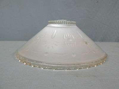 """Vtg Art Deco Frosted White Embossed Glass Hanging Ceiling Light Shade 10-1/2"""" A"""