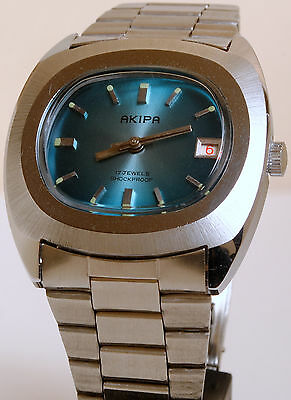 1960's VINTAGE RARE AKIPA WATCH MENS MANUAL WINDING NEW OLD STOCK NOS DATE