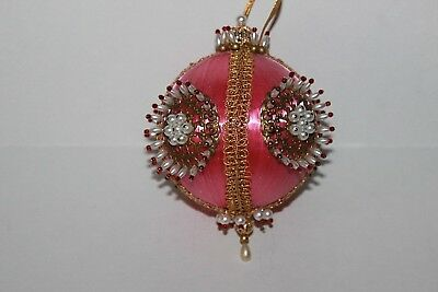 Nice Vintage Pink Beaded Christmas Ornament From Kit