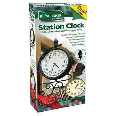 Dual Face Outdoor Garden Victorian Style Station Clock Double Sided With Bracket