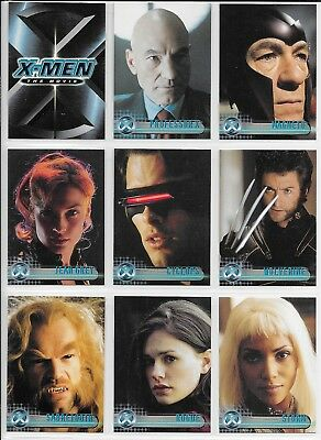 Marvel Topps X-MEN THE MOVIE Complete 72 Card BASE Set + Wrap 2000 Mystique