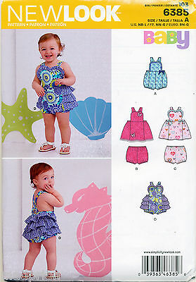 New Look Sewing Pattern 6385 Baby Sz Nb-L Romper, Dress & Panties / Nappy Cover