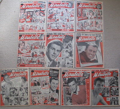 10 x MIRABELLE AND GLAMOUR 1959 APRIL, MAY, JUNE, OCT, NOV UK MUSIC MAGAZINE