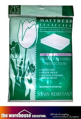 King Single Three Quarter Size Mattress Protector Stain Resistant Strapped