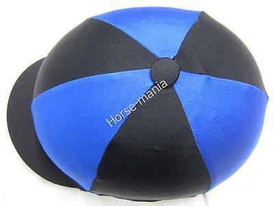 Black & Royal Blue Riding Hat Silk Cover For Jockey Skull Caps One Size