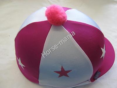 Hot Pink & White Stars Riding Hat Silk Cover For Jockey Skull Caps One Size