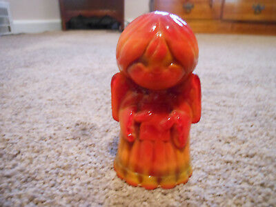 Vintage Mosser Amberina Slag Glass Angel Holding Book Paperweight, Really Pretty