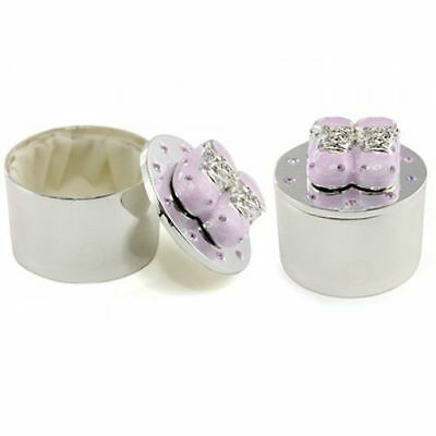 Silver Plated Baby Shoe Trinket Box Christening Gift Pink Blue Cream Options