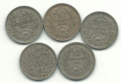 Very Nice Lot 5 Chile 10 Centavos Coins-1928,1933,1937,1938,1940