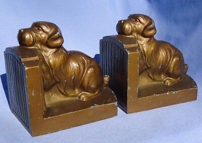 1930 SEALYHAM Cesky terriers bronze dog bookends Nuart