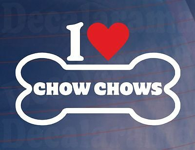 I LOVE//HEART CHOW CHOWS Novelty Bone Car//Van//Window Sticker Ideal for Dog Owners