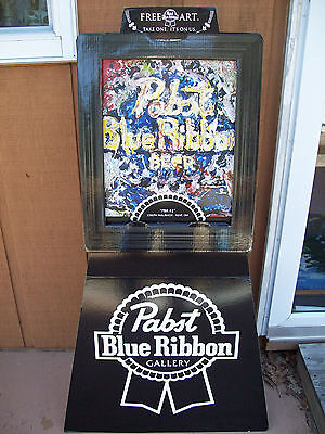 Pabst Blue Ribbon Beer 2009 Cardboard Art Display Standee PBR Gallery NOS