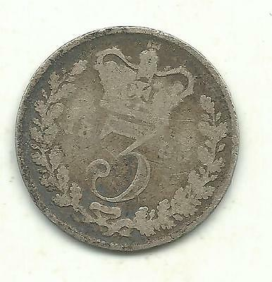 A Vintage 1885 Great Britain Three 3 Pence Silver Coin-May380