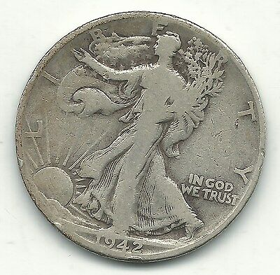 A Very Nice Vintage 1942 D Liberty Walking Silver Half Dollar Coin-Oct008
