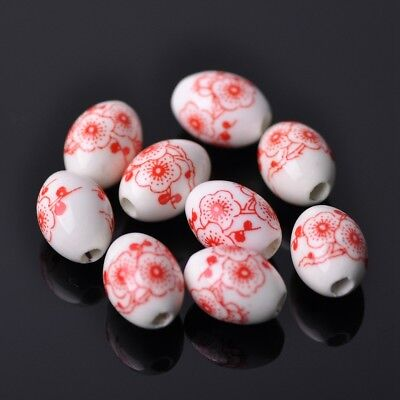 NEW 10pcs 15X10mm Oval Ceramic Spacer Findings Loose Beads Flowers Pattern #16