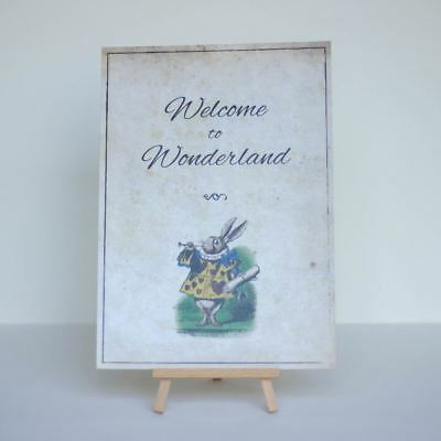 Welcome to Wonderland Alice in Wonderland A4 Sign and Easel Party Décor