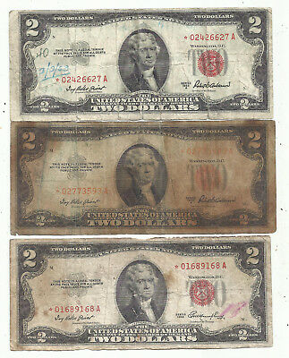 1953 & 1953A $2 RED Seal *STAR* Legal Tenders ~3 Notes~ Old US Paper Money!