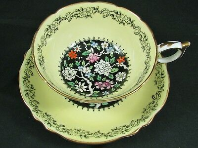 Paragon Horseshoe Good Luck Yellow & Black Floral Tea Cup And Saucer
