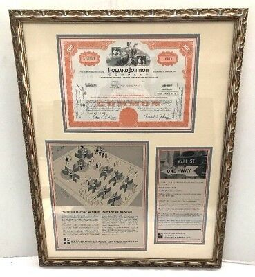 rare Merrill Lynch HOWARD JOHNSON Wall Street Framed ART Stock Certificate 1972