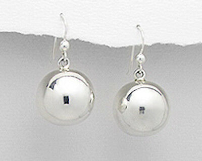 d5864e373 30mm Solid Sterling Silver SHINY Ball Hook Dangle Earrings 6.2g GORGEOUS