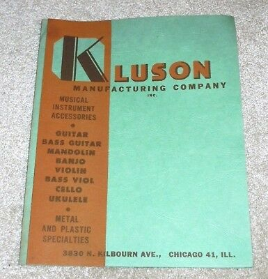 Vtg 1950s Kluson Musical Instruments Accessories Parts Catalog Chicago Guitar