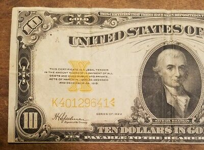 1922 10 dollar gold certificate note