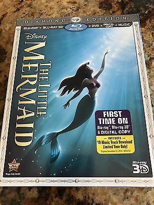 Disney The Little Mermaid Diamond Bluray 3D DVD Digital Brand New Sealed Cover