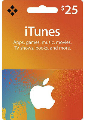 $25 USD iTunes Prepaid Card - 25 US Dollar Apple Store Code Key - USA Region