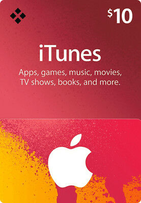 $10 USD iTunes Prepaid Card - 10 US Dollar Apple Store Code Key - USA Region