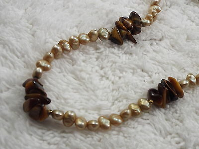 Champagne Faux Pearl Bead & Tiger's Eye Stone Necklace(C11)