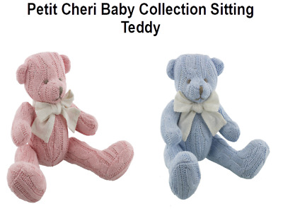 Petit Cheri Vintage Baby Collection Sitting Teddy Bear Boy Girl Christening Gift