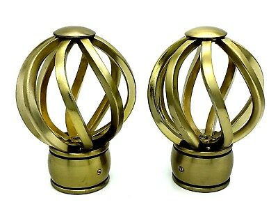 Finials For 35mm Curtain Pole Swirl Twist Cage Burnished Antique Brass (614)