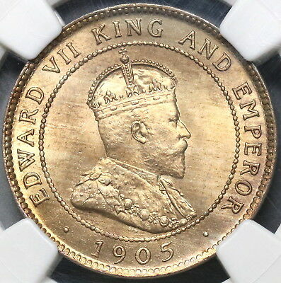 1905 NGC MS 64 JAMAICA Penny Edward VII Britain Empire Coin (17103001C)