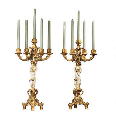 Gold & Ivory French Baroque Ornate Sculpted Cherub Candelabra Set of 2 NEW