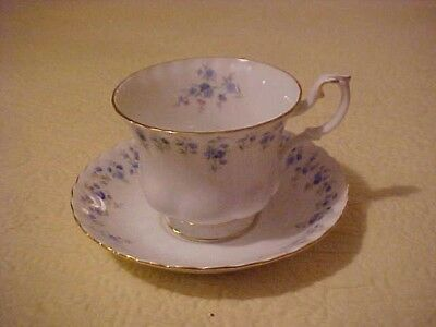"""""""MEMORY LANE"""" ROYAL ALBERT CUP AND SAUCER with BLUE FLOWERS"""