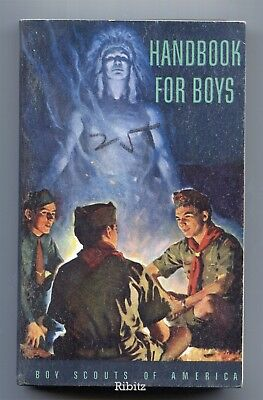 BSA Scout Handbook for Boys c.1944 p.1957 5th ed 10th ptg +RUBBER ad+ EXCELLENT
