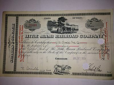 1930's Little Miami (Ohio) Railroad Company original issued stock certificate