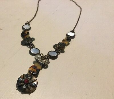 Vintage Designer Ann Egan Faux Tortoise Shell Mother Of Pearl Necklace Lucite