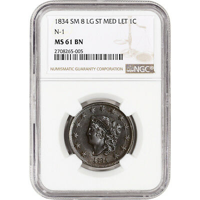 1834 US Liberty Head Large Cent 1C - N-1, Sm 8, Lg Stars, Med Let - NGC MS61 BN