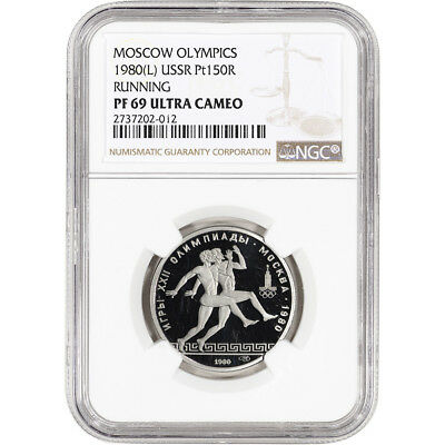 1980 (L) Russia Platinum 150 Roubles Proof Moscow Olympics Running NGC PF69 UCAM