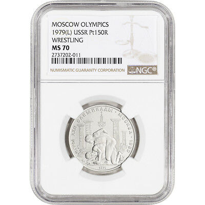 1979 (L) Russia Platinum 150 Roubles - Moscow Olympics Wrestling - NGC MS70